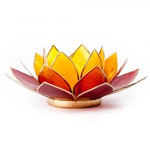 Teelichthalter - Lotusblume (atmosphärisches Licht, orange, goldener Rand)