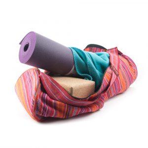 Tasche für Yogamatte aus Baumwolle (rosagestreift)