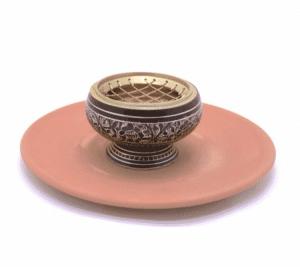 Räuchergefäß Messing + Terrakotta Schale (7,5 x 5,5 cm)