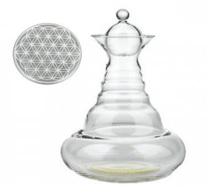 Vitalwasserkaraffe Weiß Alladin mit Blume des Lebens Weiß