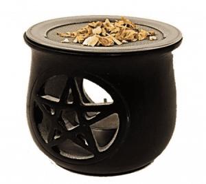 Räuchergefäß Pentagramm Speckstein schwarz mit Sieb