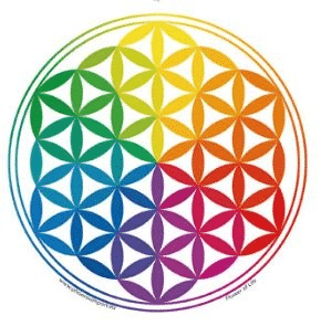 Fensterbild Blume des Lebens Regenbogen