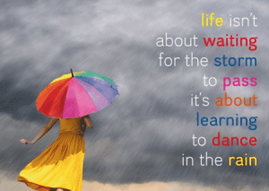 """Postkarten """"Life isn't about waiting for....."""""""