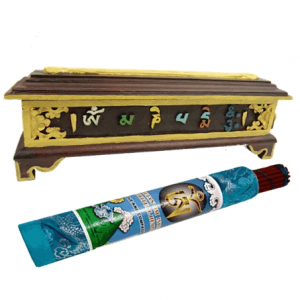 Räuchergefäß Holz Tibetisch OMPMH (36 x 12 cm)