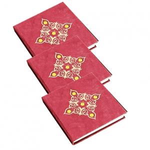 Notizbuch rot mit kleinen Steinen - Medium