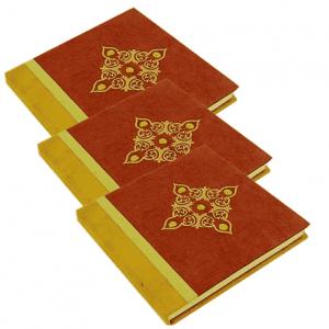 Notizbuch rot mit kleinen Steinen - Groß