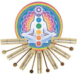 Klangstäbe setzen Chakra Healing-Show