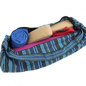 Tasche für Yogamatte aus Baumwolle (blaugestreift)