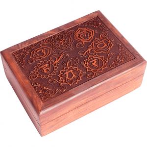 Tarotkistchen, geschnitzte 7 Chakrasymbolen