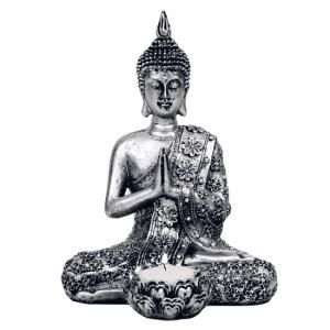 Buddha mit Kerzenhalter (Silberfarben -20 cm)