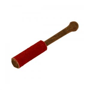 Klangschalenklopfer aus Holz mit Wildleder (rot, 15 cm)