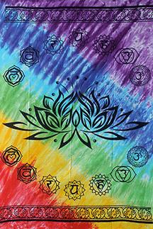 Wandteppich Lotus 7 Chakren (208 x 147 cm)