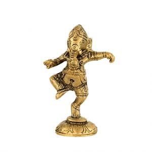 Ganesh tanzend aus Messing - 10 cm