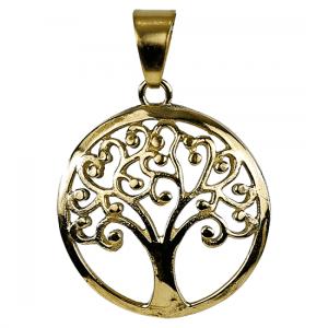 Anhänger Tree of Life Messing goldfarbig