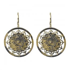 Ohrhänger Lotus Mandala Messing goldfarbig
