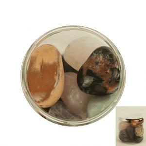 Trommelsteine Mix Brazil XXL in transparentem Behälter