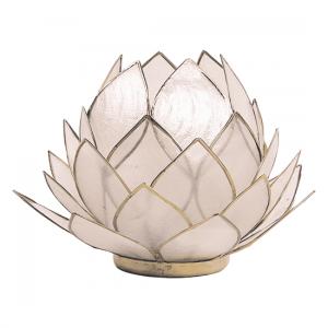Teelichthalter - Lotusblume (atmosphärisches Licht, naturellfarbend, goldrand, groß)