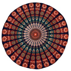 Strandtuch Mandala-Design (blau-orange)