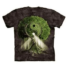 T-Shirt Mountain Artwear Yin Yang Tree (Größe S, schwarz)