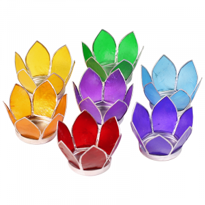 Set 7 Lotus Teelichthalter klein Chakra (Rand Silberfarbig)