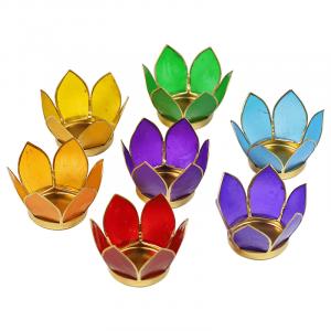 Set 7 Teelichthalter - Lotusblume 7 Chakren (atmosphärisches Licht, goldener Rand)
