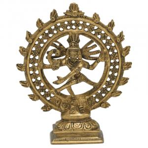 Shiva Nataraja Messing doppelter Ring goldfarbig - 15 cm