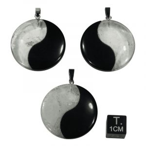 Anhänger Yin Yang Obsidian Bergkristall (3 cm)
