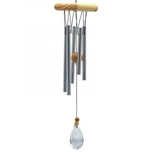 Windspiel fünf Stäbe Holz Kristallwindfänger