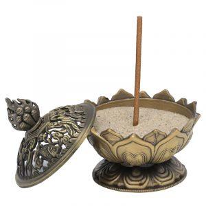 Räucherstäbchenhalter Lotus bronzefarbig
