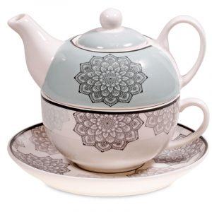 Tea for one Mandala Grau