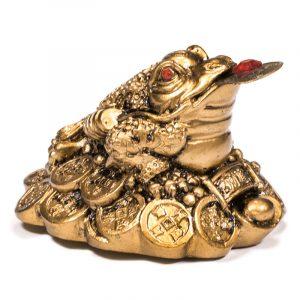 Feng Shui Frosch Glücksbringer gold