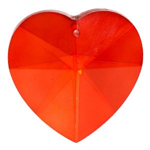 Regenbogenkristall herzförmig - rot