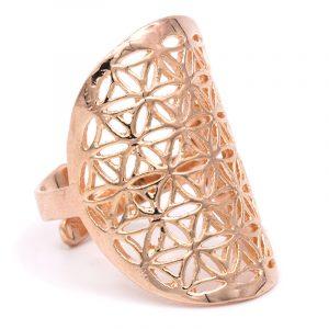 Ring Blume des Lebens Messing rosa goldfarbig