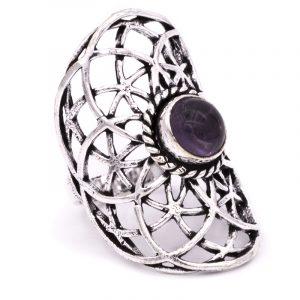 Ring Samen des Lebens mit Amethyst Silberfarben (Ringgröße 19)