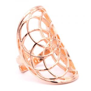 Ring Seed of Life Messing rosa-goldfarbig
