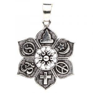 Anhänger Lotus mit religiösen Symbolen