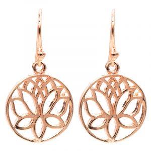 Ohrhänger Lotus Messing rosa goldfarbig