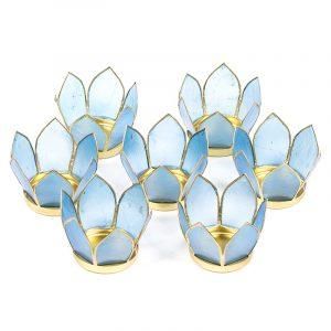 Set 7 Lotus Teelichthalter klein blau (goldener Rand)