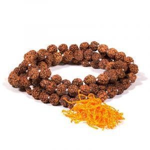 Mala Rudraksha 108 Perlen mit oranger Quaste