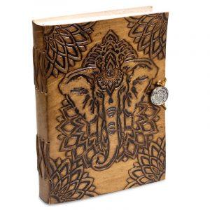 Notizbuch Elefant mit Lederbezug