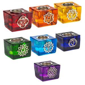 Set mit 7 Chakra Kerzenhaltern mit 22 mm Öffnung