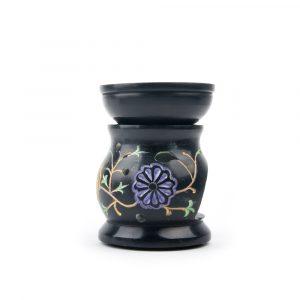 Duftlampe Blumen schwarzer Speckstein