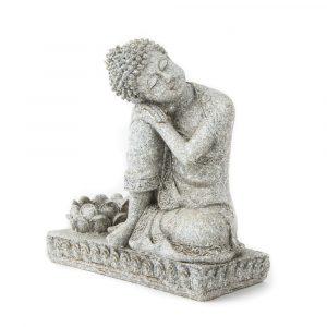 Buddha mit Kerzenhalter (steingrau, 17 cm)