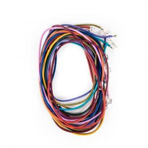 Halskette Leder mit Karabinerverschluss - mehrfarbig