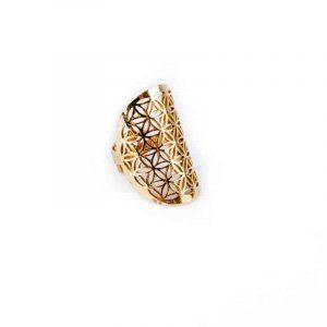 Ring Blume des Levens - Messing - goldfarbig