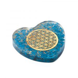 Orgonitherz Lapis Lazuli mit Blume des Lebens in Kupfer