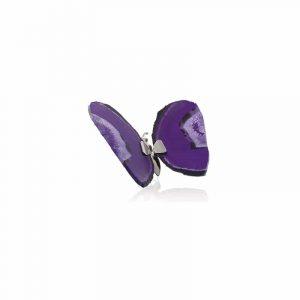 Schmetterling aus Edelstein Achat Violett