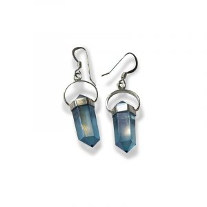 Aqua Aura Ohrringe mit Silberfassung