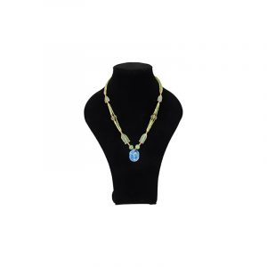 Böhmische Halskette Jade mit Lapis lazuli Oval