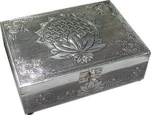 Tarotbox mit Weißmetall - Flower of Life & Lotus